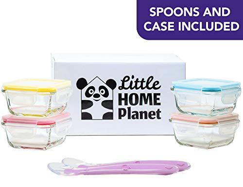 Home Planet] Set di 4 Contenitori per Alimenti per Neonati, in Vetro con 2 Cucchiai e Custodia in...