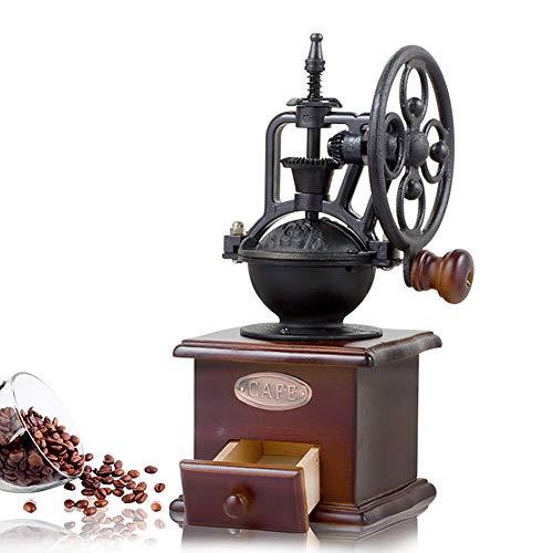 Molinillo de café manual, mini molinillo de café de madera antigua con manivela y cajones para hacer café y utensilios de cocina Tamaño libre Black+brown