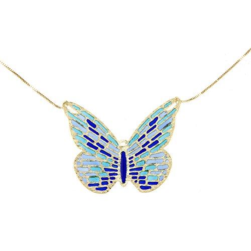 Lucchetta - Collar Mujer Azul Mariposa 14 quilates Oro Amarillo - 585 Pendiente de mariposa de oro
