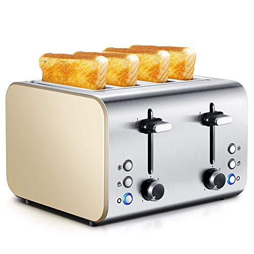 HYX Toaster 4 Slice, tostapane a Scomparsa in Acciaio Inox, Funzione di...