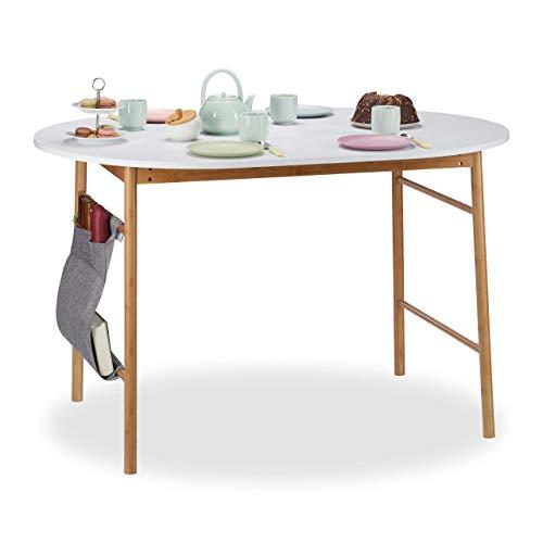 Relaxdays Tavolo da Pranzo Bianco, per la Cucina, Ovale, in bambù & MDF, Scrivania in Stile...