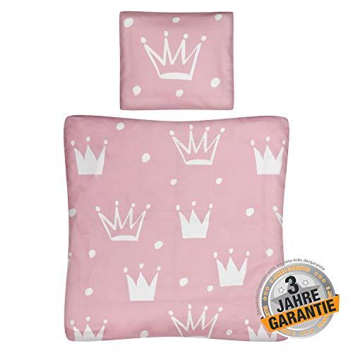 Aminata Kids - Wiegen-Bettwäsche-Set Bett-Decke 80-x-80-cm Kissen-Bezug 35-x-40 cm, Baumwolle, Reißverschluss, Krone, Prinzessin, für Stubenwagen, Beistellbett, Kinderwagen, rosa, weiß