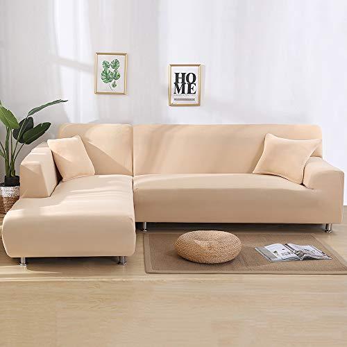 Copridivano con Penisola Elasticizzato Chaise Longue Copridivano Angolare Antimacchia Sofa Cover componibile in Poliestere a Forma di L 2PCS, Federe Protettive per Divano(Beige,2 Posti+3 Posti)