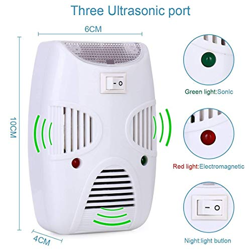 Zurato Ultrasonic Pest Repeller Electronic Pest Control Repellent Reject Plug in for Insect by, Mouse, Rats, Spiders, Fleas, Roaches, Bed Bugs, Mosquitoes, Eco-Friendly, Human, Pet Safe
