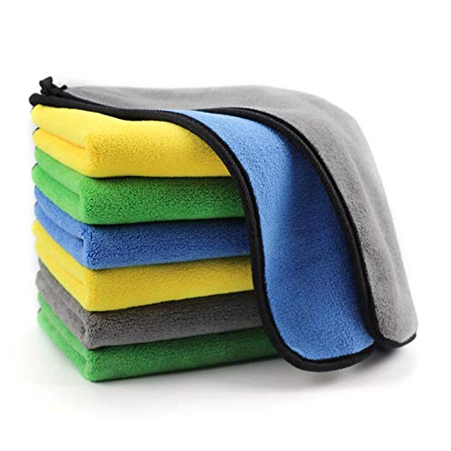 OAN Microfiber Car Cleaning Cloth for Detailing & Polishing 800 GSM | 45x45 cm (Pack of 6) (Random Color)