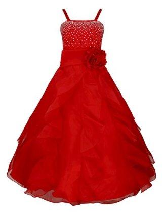Robe rouge avec brillant et rose rouge
