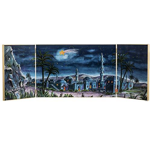 Holyart Trittico Legno: Sfondo presepe Paesaggio Arabo 34x102