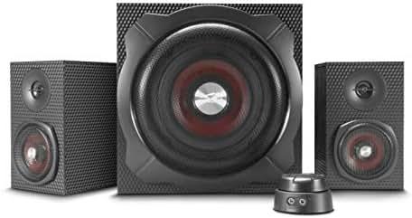 Speedlink Gravity Carbon - 2.1 Subwoofer Lautsprechersystem (120W Peak-Power, Bluetooth-Verbindung zum Smartphone/Tablet), Schwarz
