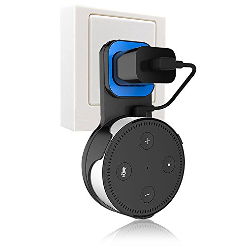 Echo Dot Wall Mount Holder, Finest+ Outlet Wall Mount Hanger for Echo Dot 2nd Generation, No Messy Wires, Space-Saving Solution for Smart Home Speakers Alexa, Echo Dot Accessories-Black