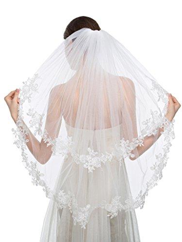 Edith qi elegante velo da sposa 2 livello delle dita velo di pizzo applique Edge con pettine