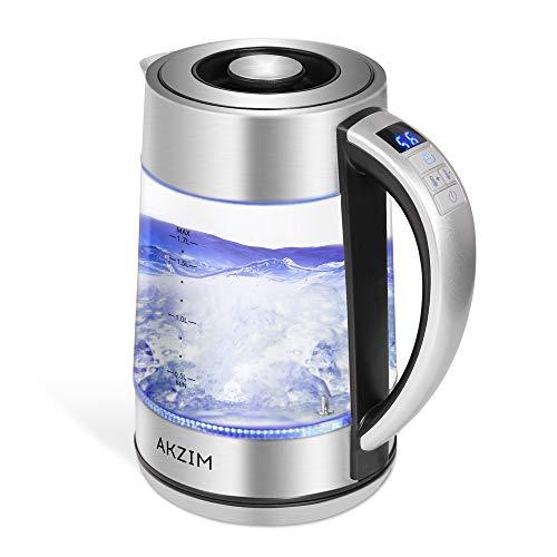 AKZIM Glas Wasserkocher Edelstahl,1.7 Liter Elektrischer Wasserkessel mit LED Innenbeleuchtung, Automatische Abschaltung Durch Strix Contoller, BPA Frei, Überhitzungsschutz, Trockenlaufschutz, 2200W