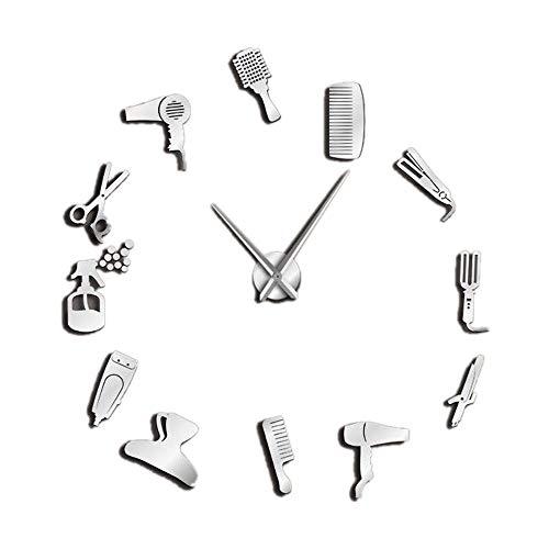 SODIAL DIY Barber Shop Orologio da Parete Gigante con Effetto Specchio Kit di Strumenti da Barbiere Orologio Decorativo Senza Cornice Orologio da Parrucchiere Barber Wall Art (Argento)