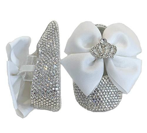 SCARPINE BALLERINE CRISTALLO LUSSO BABY BIANCHE NEONATA BAMBINA LUXURY Scarpe Battesimo Matrimonio Wedding White Party Crystal Clear Shoes Brillabenny (3-6 Mesi (Lunghezza 11cm))