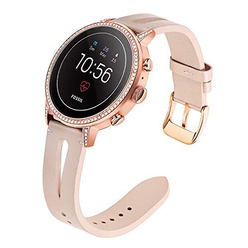 TRUMiRR Sostituzione per Fossil Gen 4 Q Venture HR Donne Cinturino,18mm Cinturino in Vera Pelle Bracciale con Chiusura in Acciaio Inossidabile per Fossil Gen 3 Q Venture, LG Watch Style
