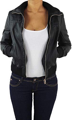 Damen Lederjacke Kunstlederjacke Leder Jacke Damenjacke Jacket Bikerjacke Blouson in vielen Farben S - 4XL Schwarz 2XL