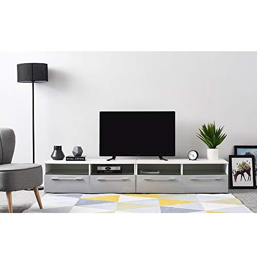 Ruication - Mobile per TV LED RGB, 200 cm, colore: bianco opaco e grigio lucido, con porta con luci...
