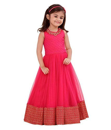 Cartyshop Pink Form with Golden Embroidery Lace Gown Dress for Girls (5-6 Years)