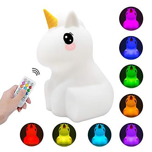 Luce Notturna Bambini Lampada USB Ricaricabile in Silicone per Neonati Cute Unicorn LED Nightlight...