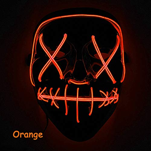 Leoie Scary Halloween Mask LED Light Up Mask for Festival Cosplay Halloween Costume Orange