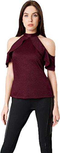J B Fashion Women's Plain Regular Fit Top (Chain top-Maroon-L)