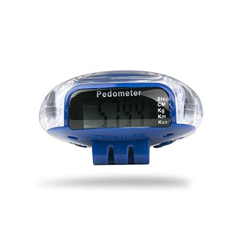 Incutex contapassi misuratore di Calorie, pedometro con Display LCD, stepcounter, contapassi (Blu)
