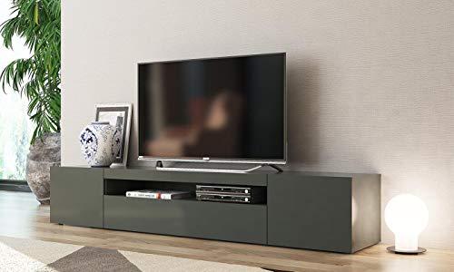 Mobile porta tv grigio antracite Mojito. Dimensioni in cm (L-A-P): 200 - 36,2 - 40