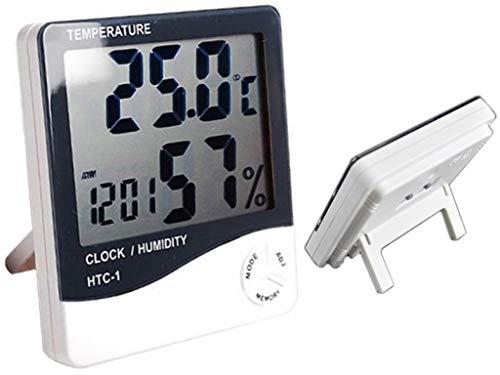SVE Super HTC 1 Indoor Digital Humidity Meter Hygrometer Thermometer with Large LCD Display Temperature Alarm Clock (HTC-1)
