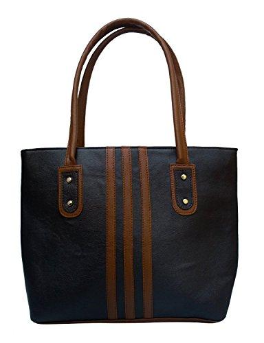 Typify 3-Strips Casual Shoulder Bag Women & Girl's Handbag (Black)