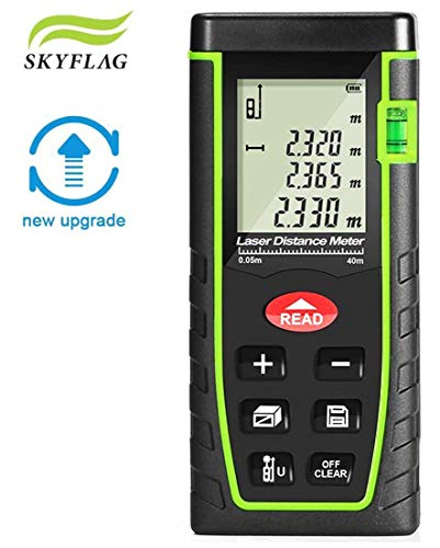SkyFlag Digital Laser Range Finder Distance Measuring Meter for Construction Fabrication Calculation of Length/Area/Volume Tape 0.05 to 40M(0.16 to 131Ft) || 1 Year Warranty || for Construction Aid