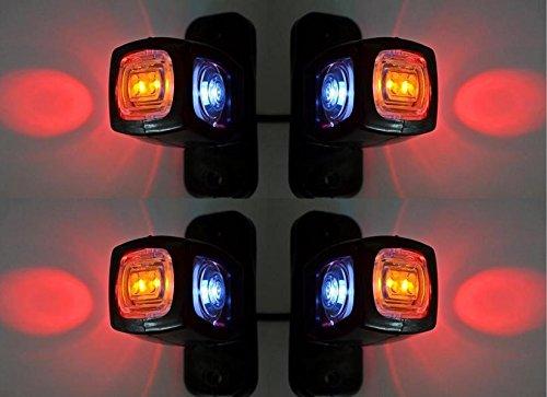 4 luci di ingombro laterali e posteriori per rimorchio, camper, furgone, 12 V, 24 V, colori:...