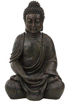Dehner Buddhafigur sitzend Figura Decorativa Bronze/Grau 51 x 33.5 x 27.5 cm