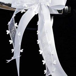 floristikvergleich.de 10 Stk Antennenschleife Autoschleife Autoschmuck Hochzeit weiss SCH0062