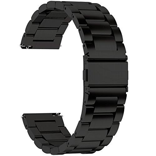 Fullmosa Cinturino Orologio con Sgancio Rapido, Cinturino in Acciaio Inossidabile per Uomo e Donna 14/16/18/20/22/24mm,24mm Nero