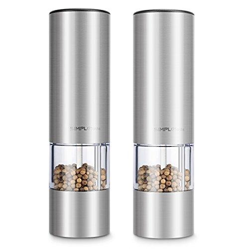 SIMPLETASTE Elektrische Salz und Pfeffermühle, mit Einstellbarem Keramikmahlwerk, Edelstahl Salzmühle Gewürzmühle mit Sichtfenster, 2 er