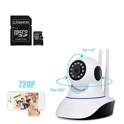 081 Store - Telecamera IP Due ANTENNE Camera HD 720P Wireless LED IR LAN MOTORIZZATA WiFi App YOOSEE + Scheda Kingstone SDCS/64GB Canvas Select Scheda MicroSD 64 GB