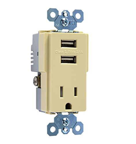 Pass & Seymour TM8USBICC6 USB Charger Tamper-Resistant Receptacle Ivory