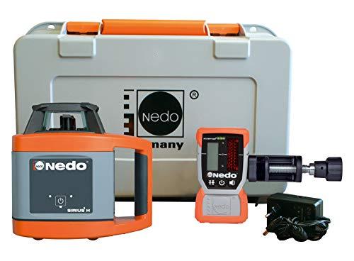 Nedo SIRIUS 1 H selbstnivellierender Rotationslaser Baulaser Nivellierlaser Laser mit ACCEPTOR 2 und HD Klammer, Laserklasse 2