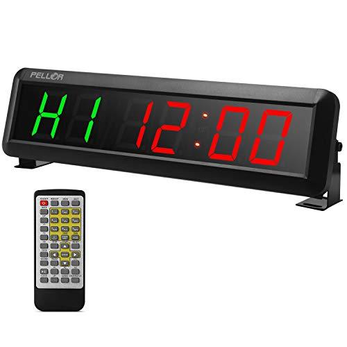 PELLOR Orologio da Parete Palestra Gym Timer, 6 Digits Orologio a Interval LED, Formato Orario 12/24 Ore, Cronometro Timer, Palestra Crosstraining Orologio con Telecomando