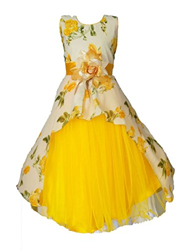 My Lil Princess Girls' A-Line Maxi Dress (Cute Pastel_Yellow_3-4 Years)