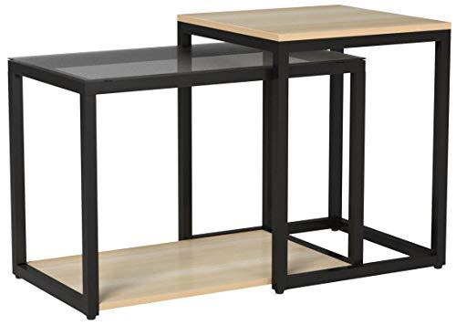 SoBuy 2PCS Tavolini Set,Tavolino da Divano, Impilabili, Tavolino d'appoggio,FBT35-SCH