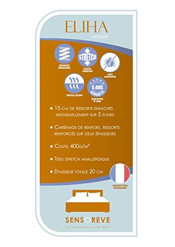 Matelas Eliha 140x190cm - Double Technologie : Ressorts ensachés + Mousse Haute Densité - épaisseur Totale 20cm - Indépendance de Couchage -... 28