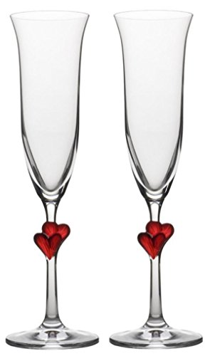 Calici da spumante Stölzle Lausitz LŽAmour con cuoricini rossi, 175ml, set da 2, resistenti ai lavaggi in lavastoviglie: set-duo di romantici bicchieri da spumante per i bei momenti da festeggiare in coppia sorseggiando spumante
