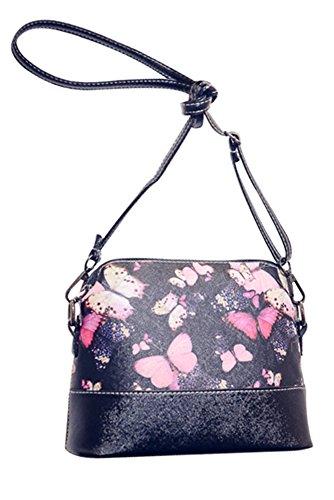 niceEshop(TM) Patrón de Flores de Cuero Bolsa de Mensajero de Crossbody Bolsos de Hombro para las Mujeres, Mariposa