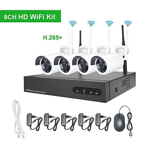 Kit de Surveillance Vidéo WiFi Aottom 8CH 720P WiFi Kit + 4pcs Caméras WiFi, Caméras de Surveillance WiFi Kit, Vision Nocturne, Détection de... 4