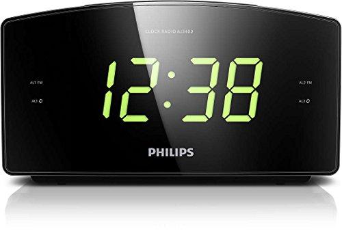 Philips AJ3400/12 Radiowecker/Uhrenradio (Großes Display, 2 Weckzeiten, Digitaler UKW-Tuner, Sleep-Timer) Schwarz