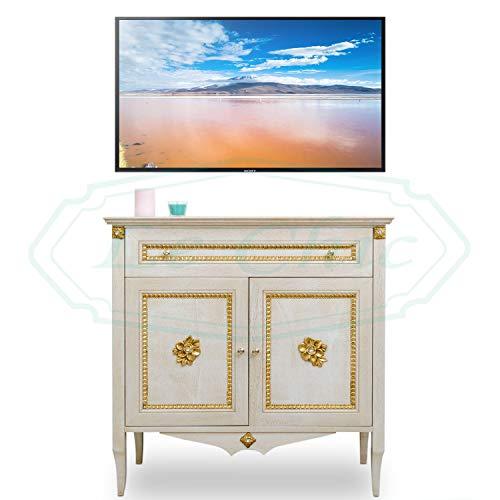 mobile da porta tv in stile barocco colore panna e oro porta televisore