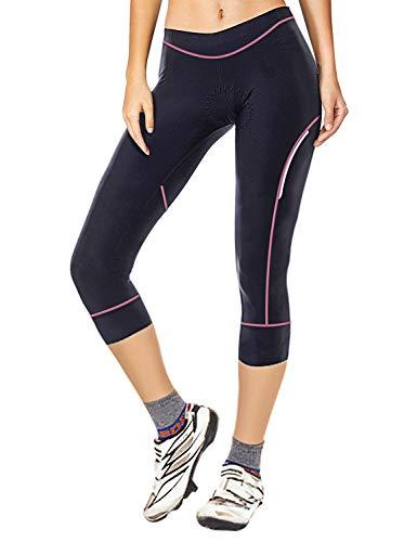 Damen Radhose Fahrradhose Cycling Hose 3/4 Radsportshorts für Frauen Elastische Atmungsaktive 3D Schwamm Sitzpolster mit Einer Hohen Dichte (Schwarz & pink, S)