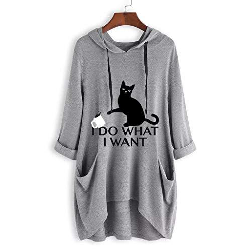 Beikoard_Camiseta con Estampado de Oreja de Gato con Capucha para Mujer(S-5XL),Tops Mujer Fiesta Tops Blusas para Mujer Tops Mujer Verano Blusas Mujer