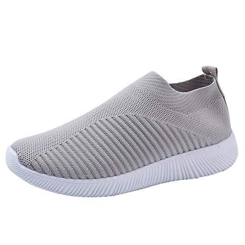BaZhaHei-Zapatillas Zapatillas de Mujer Deporte Planas de Malla Transpirable Zapatos Casuales de Zapatos de Malla Aire Libre para Mujer Slip Casual en Suelas cómodas Running Zapatos Deportivos