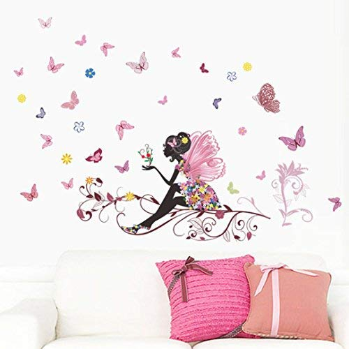 LuckES extraíble de flores hada mariposas pared adhesivos adhesivo para las niñas habitación de niño Wall Stickers salón dormitorio TV fondo Inicio ,120cm*80cm